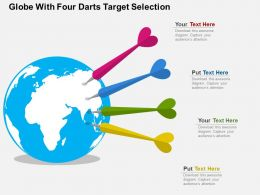 Globe With Four Darts Target Selection Flat Powerpoint Design