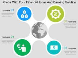 Globe With Four Financial Icons And Banking Solution Flat Powerpoint Design
