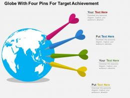 Globe With Four Pins For Target Achievement Ppt Presentation Slides