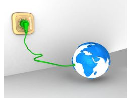 Globe With Green Plug And Connecting Socket Stock Photo