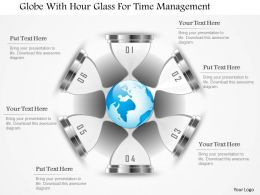 Globe With Hour Glass For Time Management Powerpoint Template