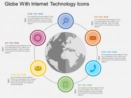 Globe With Internet Technology Icons Flat Powerpoint Design