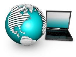 Globe With Laptop Depicting Internet For Global Connectivity In Business Stock Photo