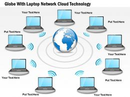 Globe With Laptop Network Cloud Technology Ppt Presentation Slides