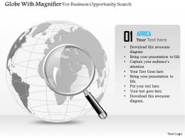 Globe With Magnifier For Business Opportunity Search Ppt Presentation Slides