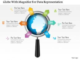Globe With Magnifier For Data Representation Powerpoint Template