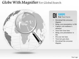 Globe With Magnifier For Global Search Ppt Presentation Slides