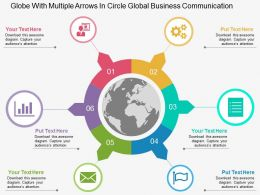 Globe With Multiple Arrows In Circle Global Business Communication Flat Powerpoint Design