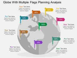 Globe With Multiple Flags Planning Analysis Flat Powerpoint Design