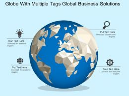 Globe With Multiple Tags Global Business Solutions Flat Powerpoint Design