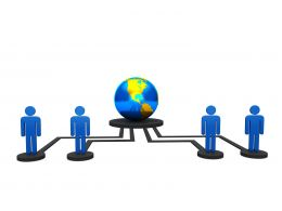 Globe With Network And People For Computer Networking Stock Photo