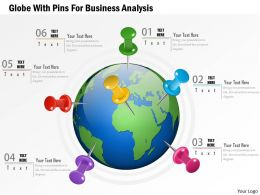Globe With Pins For Business Analytics Ppt Presentation Slides