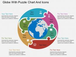 Globe With Puzzle Chart And Icons Ppt Presentation Slides