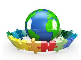 Globe With Rounded Puzzle On White Background Stock Photo