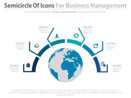 Globe With Semicircle Of Icons For Business Management Powerpoint Slides