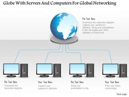 Globe With Servers And Computers For Global Networking Ppt Slides
