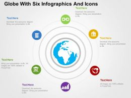 Globe With Six Infographics And Icons Ppt Presentation Slides