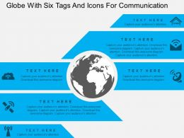 Globe With Six Tags And Icons For Communication Ppt Presentation Slides