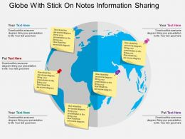 Globe With Stick On Notes Information Sharing Flat Powerpoint Design