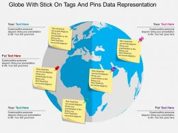Globe With Stick On Tags And Pins Data Representation Ppt Presentation Slides
