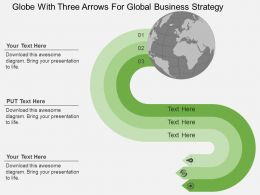 Globe With Three Arrows For Global Business Strategy Flat Powerpoint Design