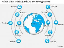 Globe With Wi Fi Signal And Technology Icons Ppt Presentation Slides