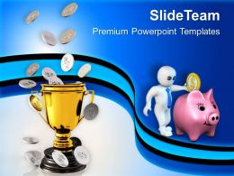 Gloden Trophy With Coin Money Prize Powerpoint Templates Ppt Backgrounds For Slides 0213