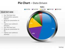 glossy pie chart showing sales figures data driven ppt slides diagrams templates powerpoint info graphics