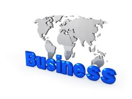 Glossy World Map With Business Stock Photo