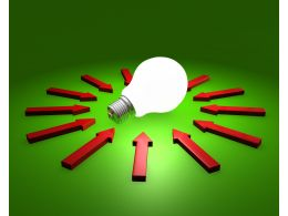 glowing_bulb_with_red_arrows_on_green_background_stock_photo_Slide01