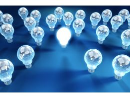 Glowing Bulbs To Show Leadership Stock Photo