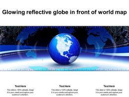 Glowing Reflective Globe In Front Of World Map