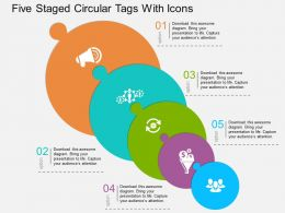 Gm Five Staged Circular Tags With Icons Flat Powerpoint Design
