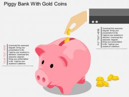 gm Piggy Bank With Gold Coins Flat Powerpoint Design