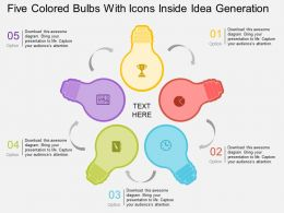 Gn Five Colored Bulbs With Icons Inside Idea Generation Flat Powerpoint Design