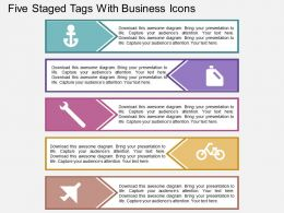 Gn Five Staged Tags With Business Icons Flat Powerpoint Design