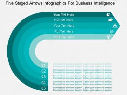Go Five Staged Arrows Infographics For Business Intelligence Flat Powerpoint Design