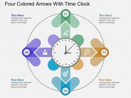 Go Four Colored Arrows With Time Clock Flat Powerpoint Design