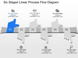 go Six Staged Linear Process Flow Diagram Powerpoint Template