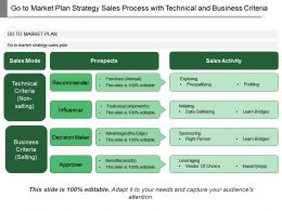 Go To Market Plan Strategy Sales Process With Technical And Business Criteria