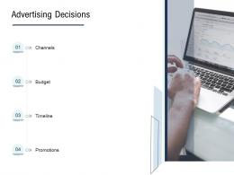 Go To Market Product Strategy Advertising Decisions Ppt Slides