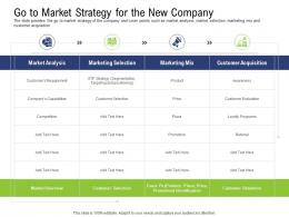 Go To Market Strategy For The New Company Pre Seed Capital Ppt Icons