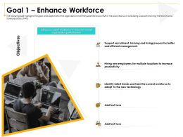 Goal 1 Enhance Workforce Support Recruitment Ppt Powerpoint Presentation Infographics Samples