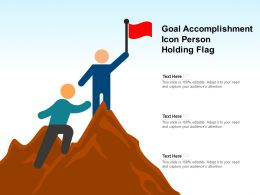 Goal Accomplishment Icon Person Holding Flag