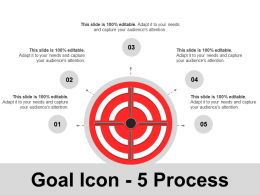 Goal Icon 5 Process Ppt Infographics