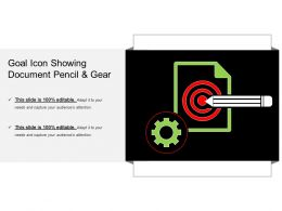 Goal Icon Showing Document Pencil And Gear