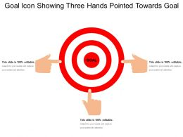 Goal Icon Showing Three Hands Pointed Towards Goal