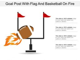 Goal Post With Flag And Basketball On Fire