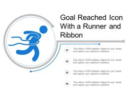 Goal Reached Icon With A Runner And Ribbon