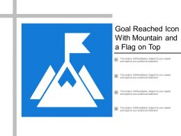 Goal Reached Icon With Mountain And A Flag On Top